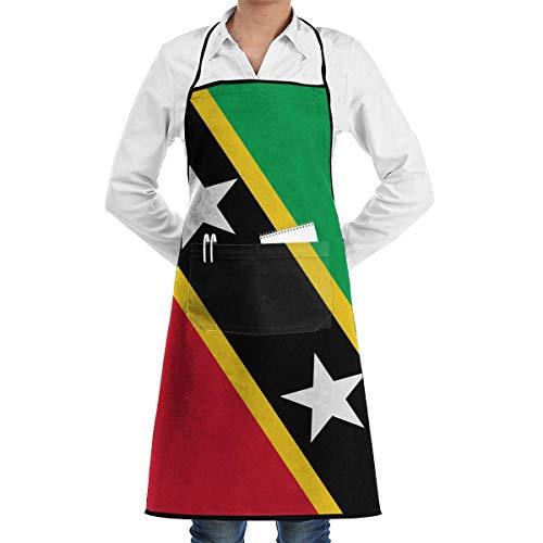 N\A Wassertropfenresistente Schürzen mit Taschen, Flagge von Saint Kitts & Nevis Lätzchenschürze für Köche