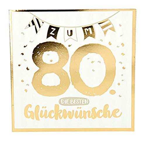 Depesche 8144.007 Glückwunschkarte mit Glanzeffekt und Musik, 80. Geburtstag, Mehrfarbig