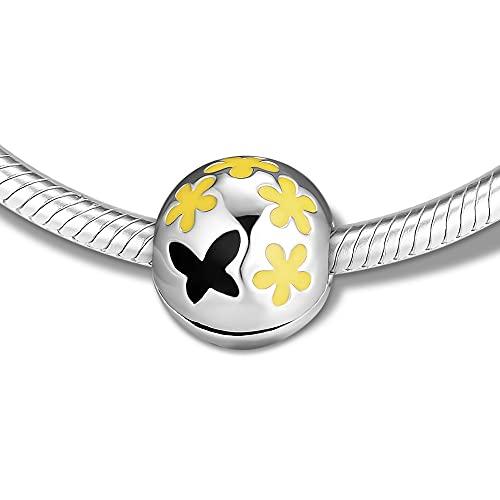 LILANG Pulsera de joyería Pandora 925, ajustes Naturales para Daisy Pave Clip Beads, Encanto de Plata esterlina para Mujeres, Regalos DIY