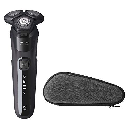 Philips S5000 S5588/30 Afeitadora eléctrica para hombre con tecnología Skin-IQ, cortapatillas integrado, seco/húmedo y funda de viaje