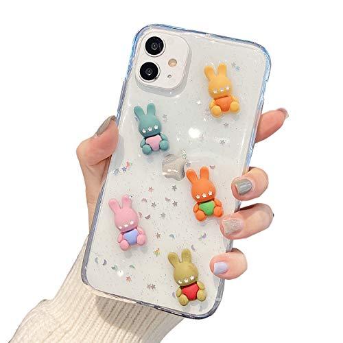 DOMIDO 3D Clear Case Kompatibel mit iPhone 12 Mini Cute Cartoon Hasen Funny Creative Ice Cream Cake Food Cover Mädchen Glitzer Soft Rubber Case für iPhone 12 Mini (5 Bären)