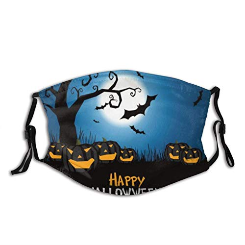 Bufanda facial Halloween Poster Vector Ilustración Pasamontañas Unisex Reutilizable a prueba de viento Anti-Polvo con Filtros Protección Boca