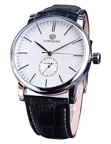 FORSINING Elegante reloj de pulsera analógico analógico automático de subdial blanco con correa de cuero negro