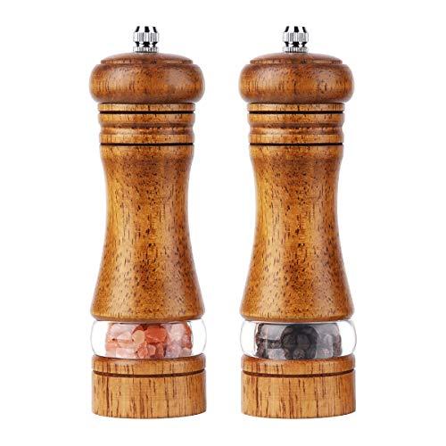 Braoses Manuelle pfeffermühle Holz Salzmühle Keramikmahlwerk Gewürzmühle 2er-Set Salz und Pfeffer Mühle Einstellbare Feinheit Höhe: 16,5 cm (Retro)