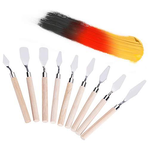Bligo 9 Stück Spachteln Malmesser, Palettenmesser Palette Messer Edelstahl, Spachtel Messer Malerspachtel Künstler Set zum Malen, Farbe Schaber für acryl und Öl Farbe Malen Schaber