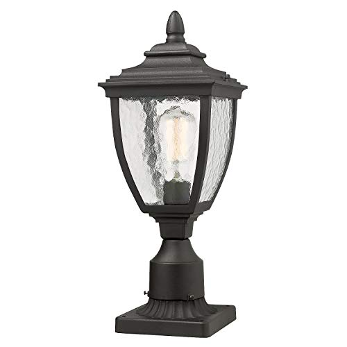 Beionxii Outdoor Post Lights, 1-Light Vintage Exterior Post Lamp with 3-Inch Pier Mount Adapter, Black Finish with Water Ripple Glass (6.9'W x 18.6'H) - A162 Series