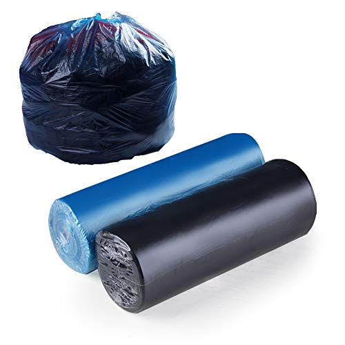 6 Gallon Trash Bags, Kitchen Trash Bags 6 Gallon Unscented, for Bathroom and Bedroom Trash Can Lining Garbage Bags (blue 1 roll + black 1 roll total 50 counts)