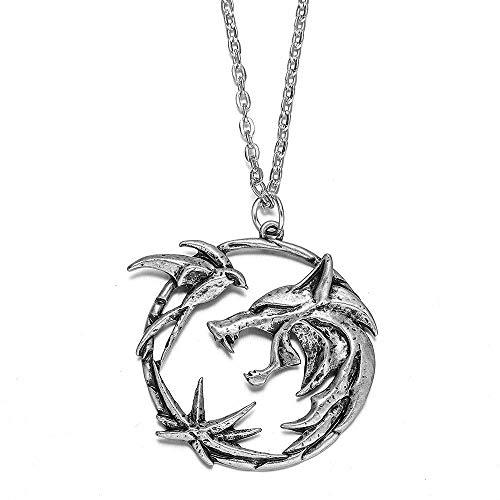 Dfgh Wolf Medallion ketting mannen hanger metalen ketting Geralt Replica accessoires. (Length : 60cm, Metal Color : Platinum Plated)