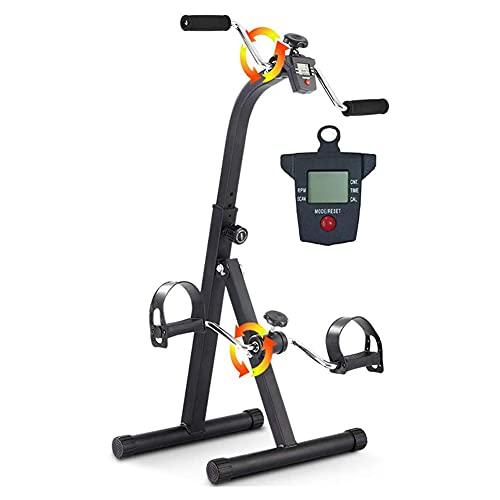 Ejercitador de pedal con mango para ejercicios de recuperación de piernas, brazos y rodillas Mini bicicleta estática plegable para personas mayores Gimnasio en casa Máquina de entrenamiento físico