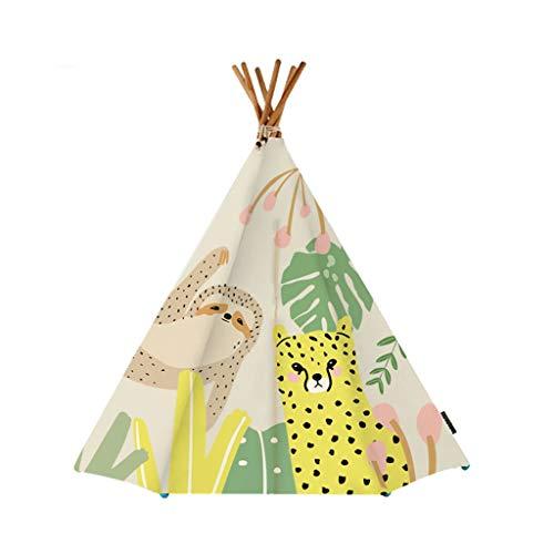 Tiendas de campaña indias con postes de madera maciza, diseño de animales de dibujos animados para niños, decoración de dormitorio para niños (color: B, tamaño: 150 x 150 cm)