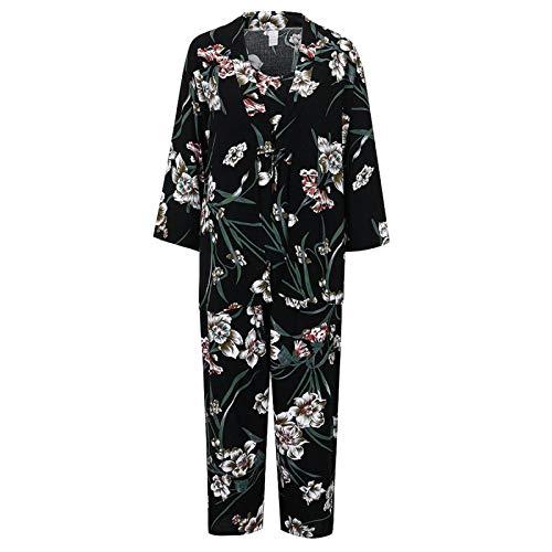 JLBH Lencería Mujer Pijama de Encaje de Seda Conjuntos de Bata Trim Satin Cami Tops Sexy Babydoll Ropa de Dormir Camisón Conjunto de Pijama Sexy 3 Piezas