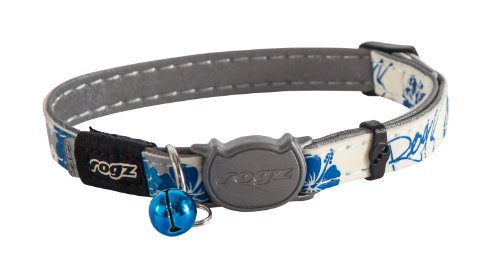 Rogz CB09-B Halsband Cat Reflective Glow-in-The-Dark, S, weiß/blau