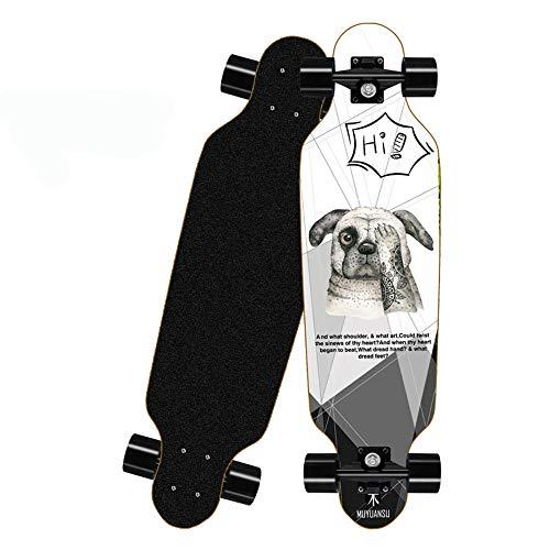 KHSKX Longboard Skateboard, Erwachsenen-Skateboard für Anfänger, Sport-Skateboard und Teenager, Mädchen, Jungen, Erwachsene-Hund-80 * 20cm