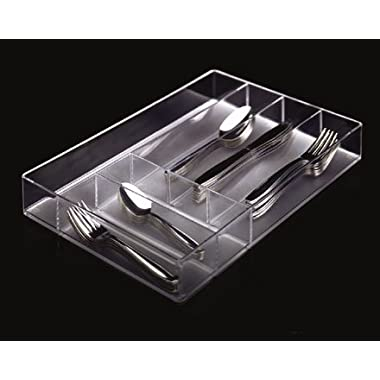 Clear Plastic Silverware and Utensil Organizer