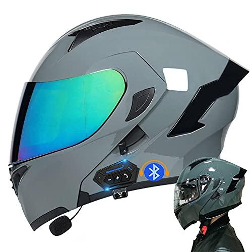 Casco De Moto Modular Bluetooth Integrado, con Doble Visera Cascos De Motocicleta, Casco Integral ECE Homologado, para Mujeres Y Hombres, Transpirable Y Cómoda