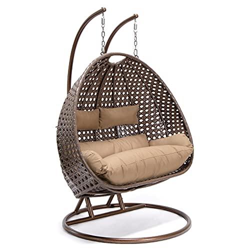 Home Deluxe - Polyrattan Hängesessel - Twin braun mit Regenabdeckung - inkl. Gestell, Sitz- und Rückenkissen | Hängestuhl Gartenschaukel Hängekorb
