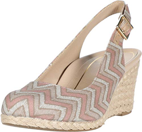 Vionic Women's Aruba Coralina Slingback Wedge - Espadrille Wedges with Concealed Orthotic Arch Support Dusty Pink Chevron 9.5 Medium US