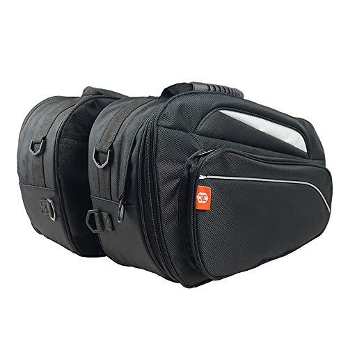 KKmoon Motorrad Satteltaschen Helmtasche, Motorradtasche Wasserdicht 1680D PU Leder Gepäck Satteltaschen Motorrad Seitentasche Aufbewahrungstaschen