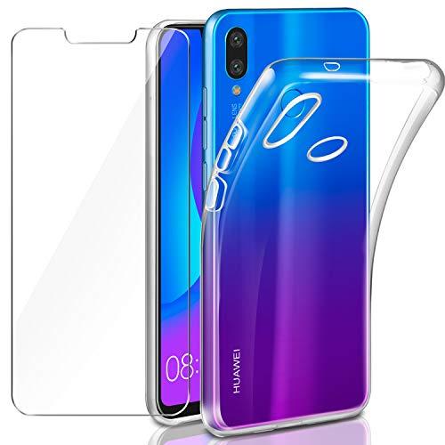Leathlux Funda + Cristal para Huawei P Smart Plus, Transparente Huawei P Smart Plus TPU Silicona [Funda+Vidrio Templado] Protector de Pantalla Flexible Case para Huawei P Smart Plus/Huawei Nova 3i