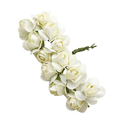 Mini-Papierrosen / Künstliche Blumen, handgefertigt, für Hochzeitsdekoration, 144 Stück weiß
