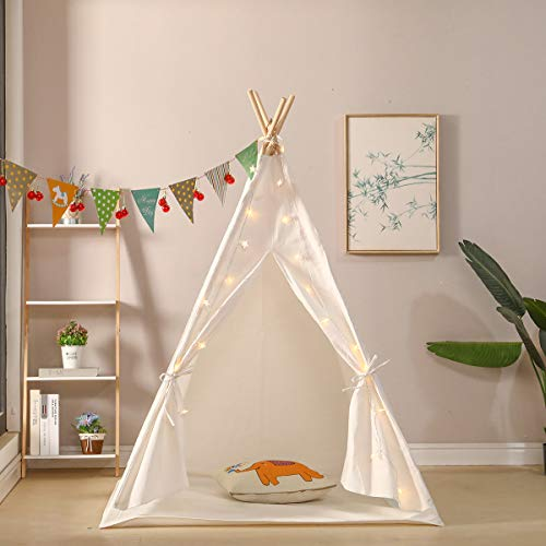 Hironpal Children's, ,Girls' or Boys' Play Tent, Teepee Tent,Kids' Wigwam, Made from Canvas Fabric and Pine Wood Poles for Indoor or Outdoor with Floor Mat (white-1)