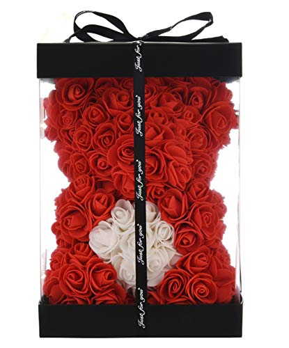 Rose Teddy Bear -10 Inches -Over 300+ Flowers on Every Rose Bear - Gifts for Women,Gifts for mom, Birthdays, Bridal Showers,Valentine's Day,Mothers - Clear Gift Box Included (red, 10in)