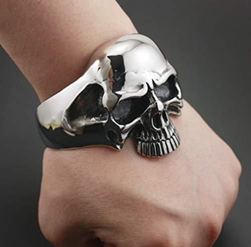 XKMY Pulsera de metal para mujer, hombre, diseño de calavera pesada, para motocicleta y punk, color metálico: plateado