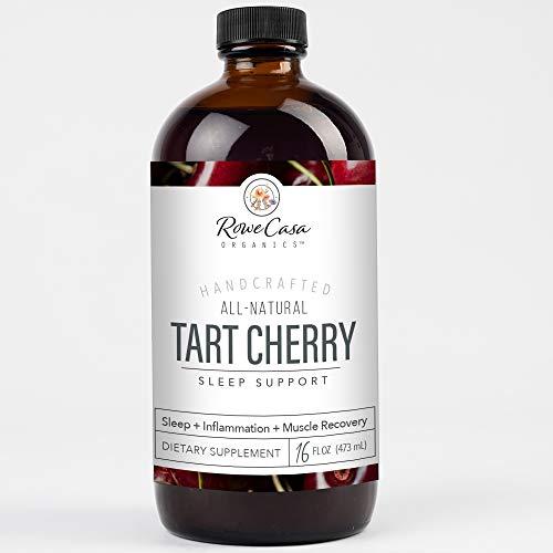 Tart Cherry Sleep Support, Organic Sleep Aid with Valerian Root, Aids in Sleep Cycle Regulation and Muscle Recovery (16 Fl Ounces) Rowe Casa Organics