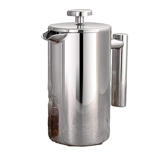 Cafeteras de émbolo 304 de doble capa cafetera hecha olla de presión de acero inoxidable mano de múltiples funciones tetera tetera de la casa filtro de presión del filtro, 350ml (Color : 1000ml)