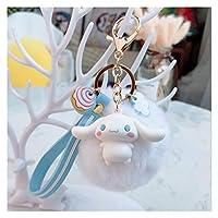 キーホルダー 8cmのふわふわのウサギの毛皮の球キーチェーンの女性の女の子バッグのペンダント車のキーリングチャームギフトと漫画ペンギンカエルのキーホルダー (Color : Style 2)