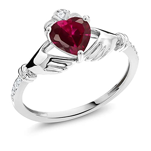 Gem Stone King 10K White Gold Red Created Ruby and White Diamond Irish Celtic Claddagh Ring (1.02 Ct Heart Shape) (Size 6)