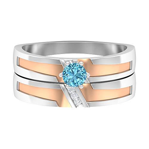 Anillo solitario de aguamarina de 4 mm, anillo de diamante HI-SI, anillo de compromiso de dos tonos, oro de 14 quilates, Metal, Diamond Aquamarine,