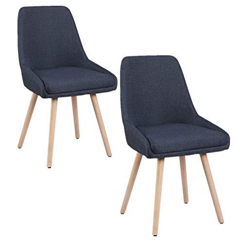 HENGMEI Set di 2 Sedie, Moderna Style Design, Faggio, Beige, 52 x 45 x 79 cm, per La Cucina-Sala da Pranzo-Soggiorno (Blu)