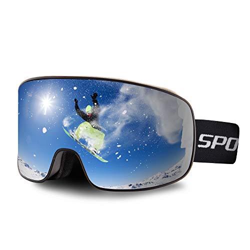 OULIQI Skibrille Herren Damen,Snowboard Brille für Brillenträger Schneebrille OTG UV-Schutz Anti Fog Skibrillen für Wintersportarten, Skifahren, Skaten (Schwarz - (VLT 13.7%))