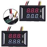 Greluma 2Pcs Amperímetro Voltímetro LED de 0.28',Multímetro Digital Rojo y Azul Probador de Corriente de Voltaje de Pantalla,DC 0-100V 10A Detector de Voltaje Medidor de Corriente Panel Amp Volt Gauge