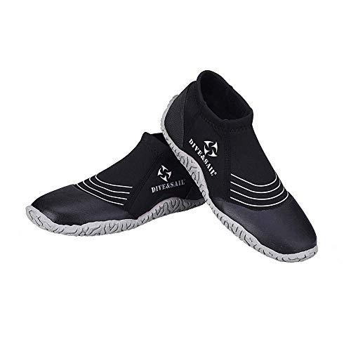 WHSS Zapatos de Playa Zapatillas De Buceo 3MM, Hombres Y Mujeres, Surf En La Playa, Antipinchazos, Zapatos Aguas Arriba, Botas De Buceo contra El Coral, Equipo De Pedales, Negro US4.5-US10.5