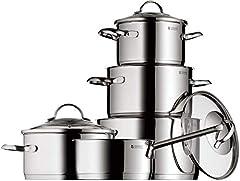 WMF Provence Plus zestaw garnków indukcyjny, 5-częściowy, Cromargan ze stali nierdzewnej polerowane, garnki ze szklaną pokrywą, garnki indukcyjne, niepotłosione, piekarnik nadaje