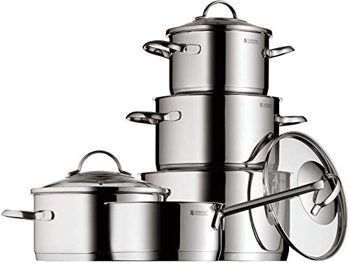 WMF 0721056380 Pot Set 5-Piece Provence Plus Pouring Rim Glass Lid Cromargan Stainless Steel Polished Suitable for Induction Hobs Dishwasher-Safe
