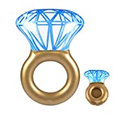 Linkidea Inflatable Diamond Ring Pool Floats, Summer Swim Ring, Swimming Circle Toy Water Ring Floating Bed for Adults & Kids with Drink Holder