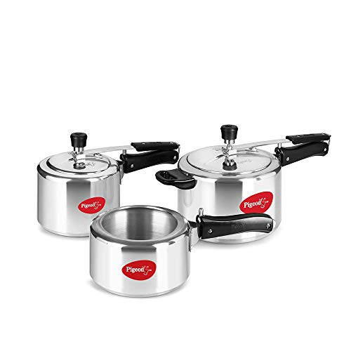 Pigeon by Stovekraft Aluminium Pressure Cooker Combo 2, 3, 5 Litre Inner Lid with Induction base, silver, large (14458)