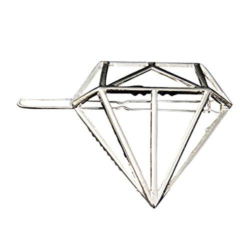 sharprepublic Stilvolle Aushöhlen Geometrie Diamant Gold/Silber Haarspange Haarspange - Silber