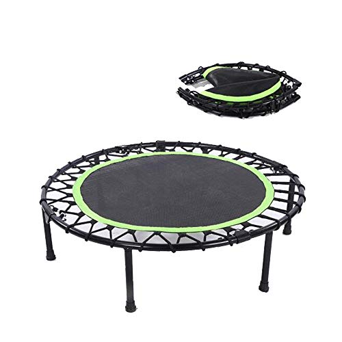 Fitness-Trampolin HUO, Indoor Outdoor, FaltbaresMini-Trampolin Für Aerobic Ausdauertraining Trampolin Outdoor (Color : Green, Size : 40inch)