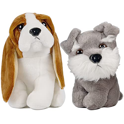 Happy Trees Set of 2 Plush Puppets, 9' Dog Stuffed Animal, Cute Puppy Doll for Kids Birthday Party Favors