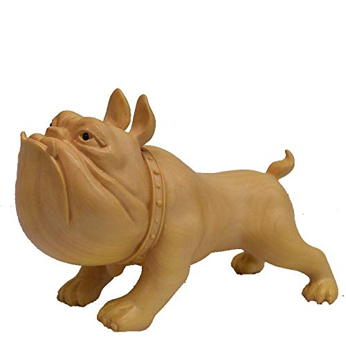 sknonr Mano de Madera Tallada Bulldog Estatua en Miniatura del Perro de Perrito 2,6 Pulgadas Art Figura Decorativa rústica decoración del hogar Pequeño Tamaño