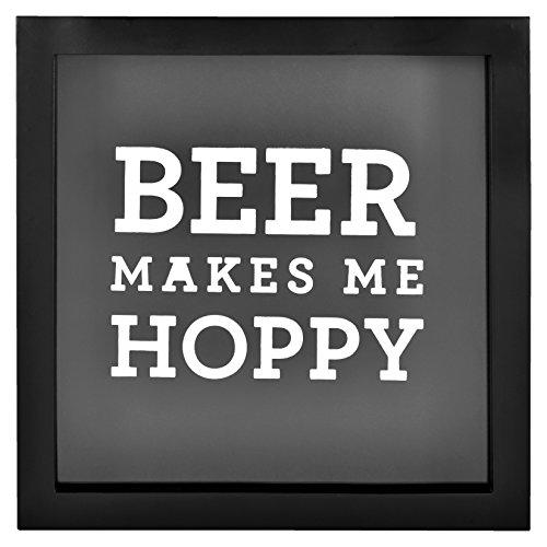MCS Bar None Hoppy Beer Cap Collector Shadowbox, 10'x10', Brown