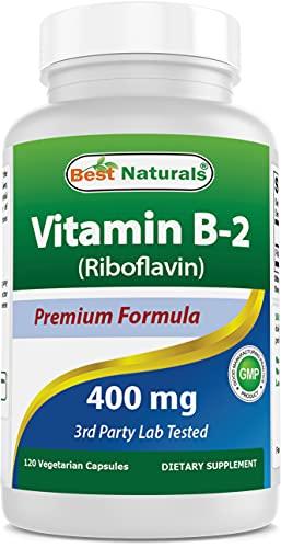 Best Naturals Vitamin B2 (Riboflavin) 400mg - Migraine Relief - Veggie Capsules - Conezyme Precursor...