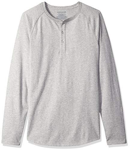 Amazon Essentials - Camiseta ajustada Henley de manga larga para hombre, Gris (Light Grey Heather), US S (EU S)