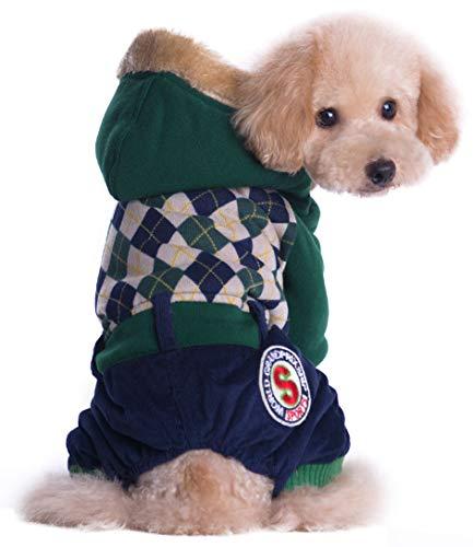 5ALL Haustier Hund Hundeanzug Atmungsaktiv Stricken Hundebekleidung Retro Bequem Hundejacke Reizende Weicher Mode Warm Hundemantel Jujube Dunkelgrün
