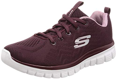 Skechers 12615/WINE Graceful-Get Connected Damen Sneaker dunkelrot/rosa, Größe:40, Farbe:Rot