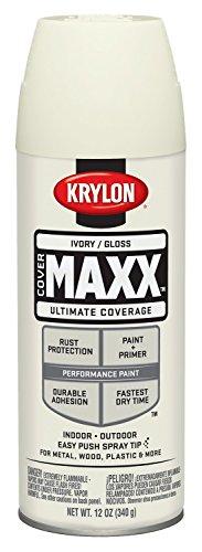 Krylon K09125000 COVERMAXX Spray Paint, Gloss Ivory, 12 Ounce
